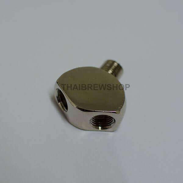 "Wye Splitter Fitting 1/4"" NTP, chrome plated brass"